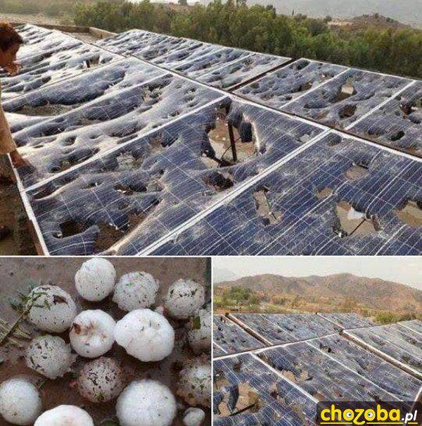 Panele słoneczne po gradobiciu