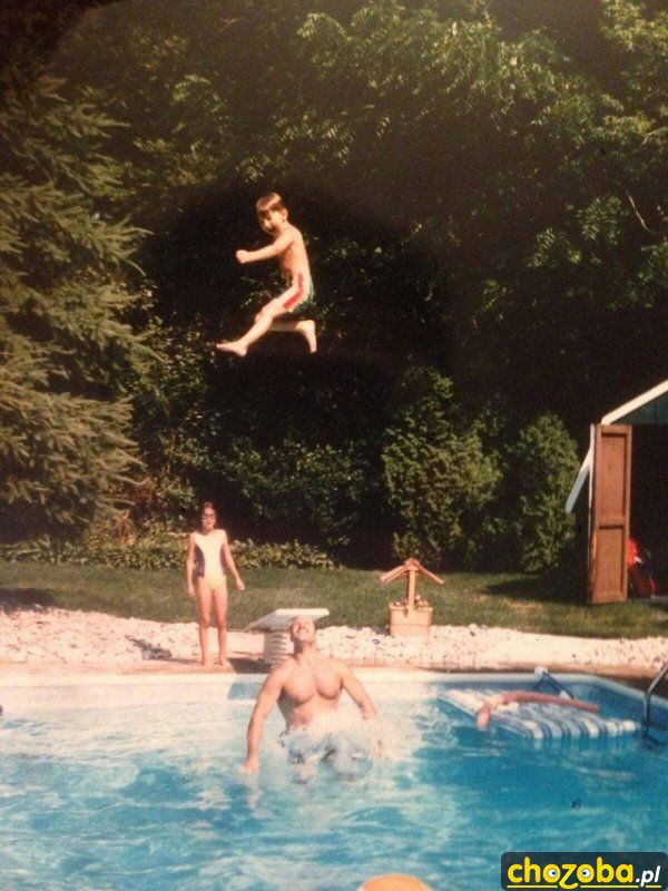 Z tatą na basenie